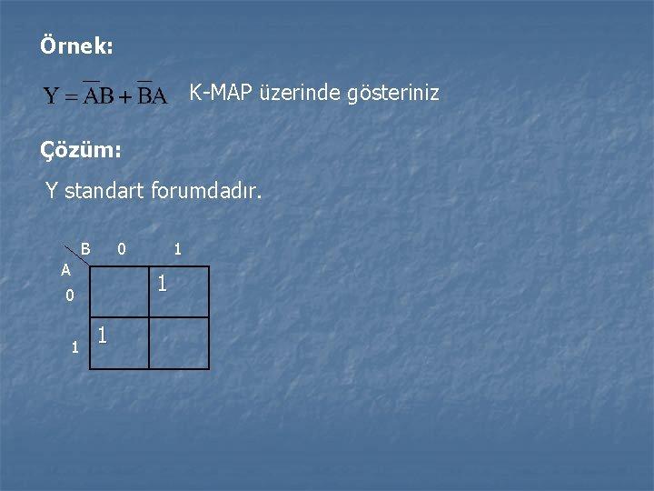 Örnek: K-MAP üzerinde gösteriniz Çözüm: Y standart forumdadır. B 0 A 1 0 1