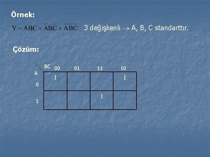 Örnek: 3 değişkenli A, B, C standarttır. Çözüm: A 0 1 BC 00 01