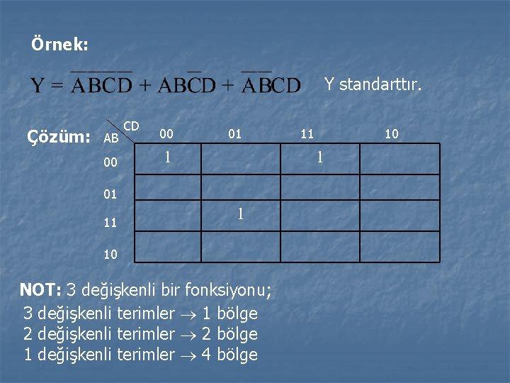 Örnek: Y standarttır. Çözüm: AB 00 CD 00 01 1 10 1 01 11