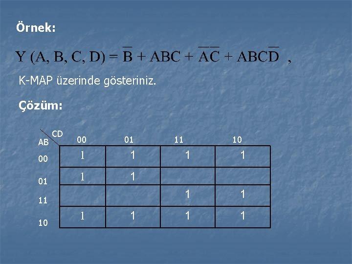 Örnek: K-MAP üzerinde gösteriniz. Çözüm: CD 00 01 00 1 1 01 1 1
