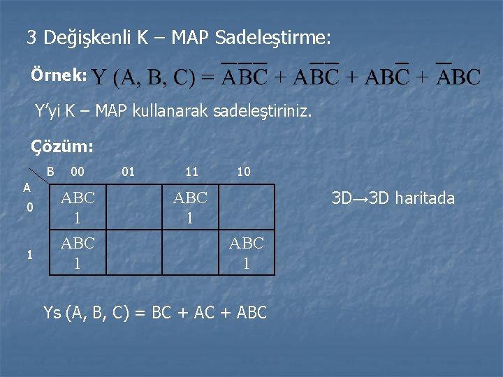 3 Değişkenli K – MAP Sadeleştirme: Örnek: Y'yi K – MAP kullanarak sadeleştiriniz. Çözüm: