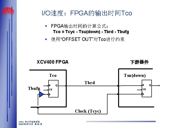 "I/O速度:FPGA的输出时间Tco w FPGA输出时间的计算公式: Tco = Tcyc - Tsu(down) - Tbrd - Tbufg w 使用""OFFSET"
