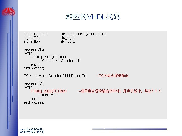 相应的VHDL代码 signal Counter: signal TC: signal flop: std_logic_vector(3 downto 0); std_logic; process(Clk) begin if