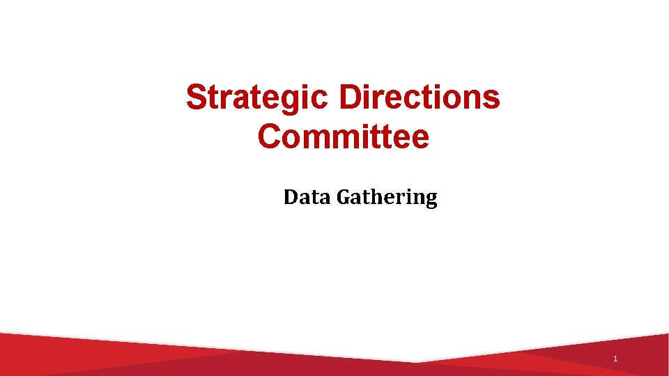 Strategic Directions Committee Data Gathering 1