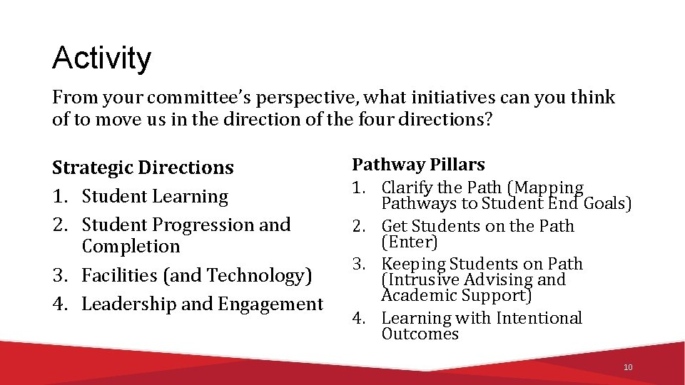 Activity From your committee's perspective, what initiatives can you think of to move us