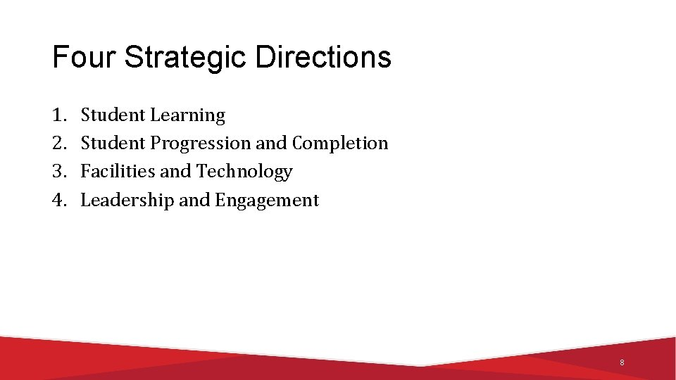 Four Strategic Directions 1. 2. 3. 4. Student Learning Student Progression and Completion Facilities