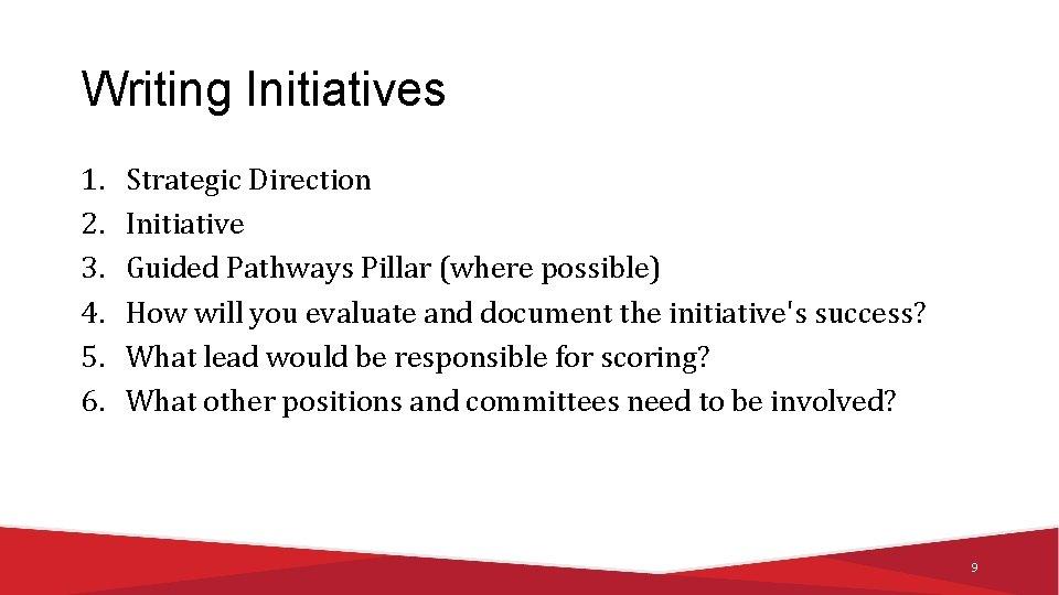 Writing Initiatives 1. 2. 3. 4. 5. 6. Strategic Direction Initiative Guided Pathways Pillar