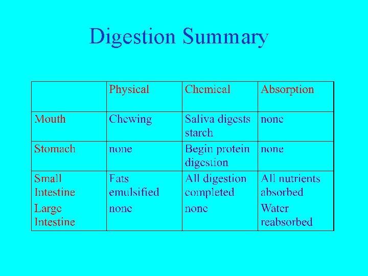Digestion Summary