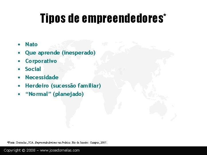 Tipos de empreendedores* • • Nato Que aprende (inesperado) Corporativo Social Necessidade Herdeiro (sucessão
