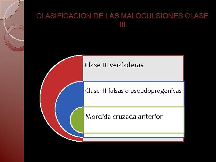 CLASIFICACION DE LAS MALOCULSIONES CLASE III Clase III verdaderas Clase III falsas o pseudoprogenicas
