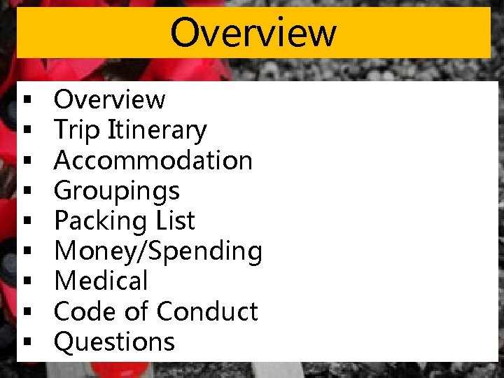 Overview § § § § § Overview Trip Itinerary Accommodation Groupings Packing List Money/Spending