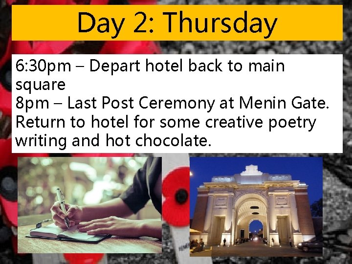 Day 2: Thursday 6: 30 pm – Depart hotel back to main square 8