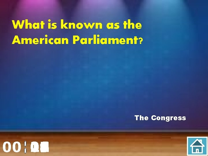 What is known as the American Parliament? The Congress 00 20 00 01 02