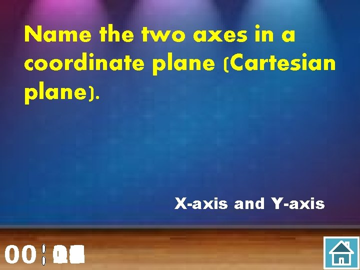 Name the two axes in a coordinate plane (Cartesian plane). X-axis and Y-axis 00