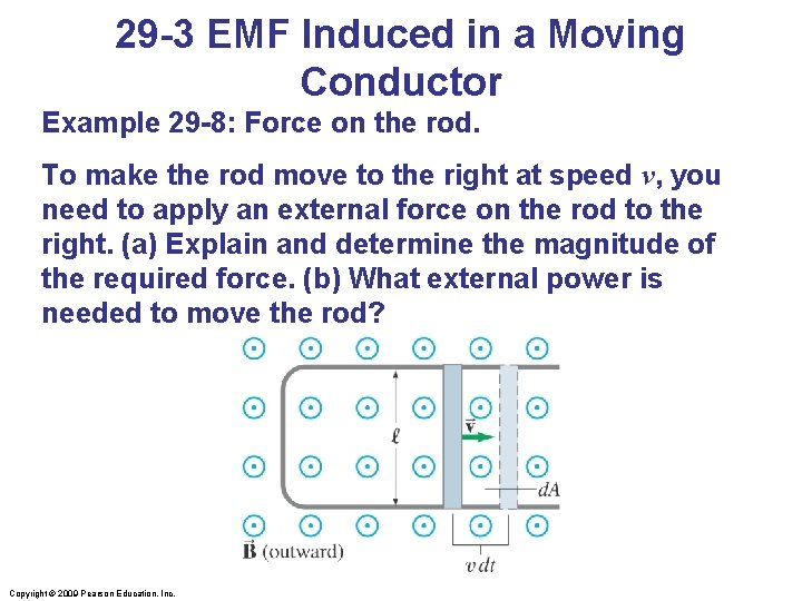 29 -3 EMF Induced in a Moving Conductor Example 29 -8: Force on the