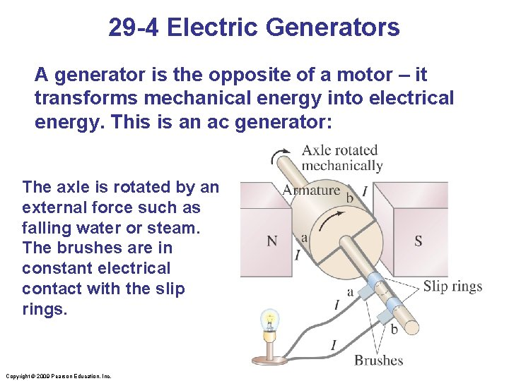 29 -4 Electric Generators A generator is the opposite of a motor – it