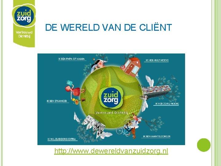 DE WERELD VAN DE CLIËNT http: //www. dewereldvanzuidzorg. nl