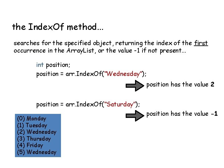 the Index. Of method. . . searches for the specified object, returning the index