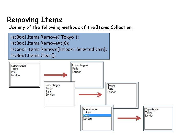 Removing Items Use any of the following methods of the Items Collection… list. Box