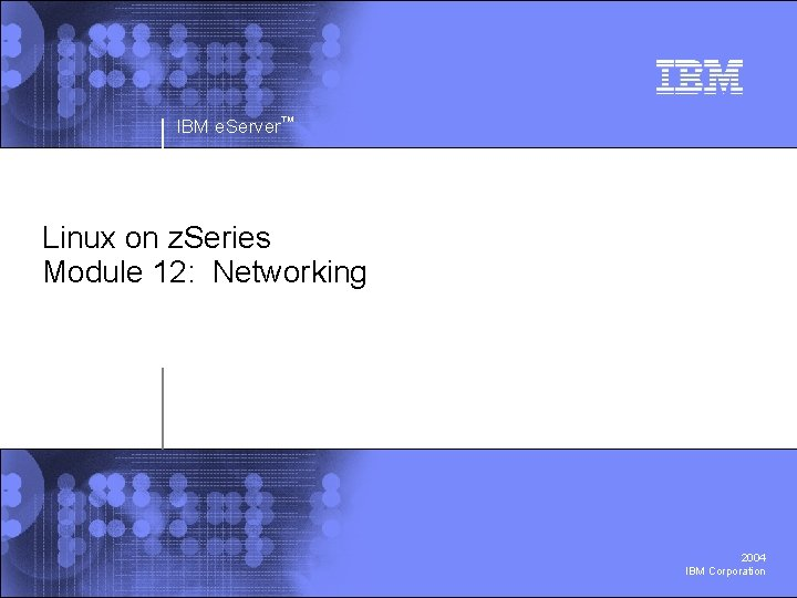 IBM e. Server™ Linux on z. Series Module 12: Networking 2004 IBM Corporation