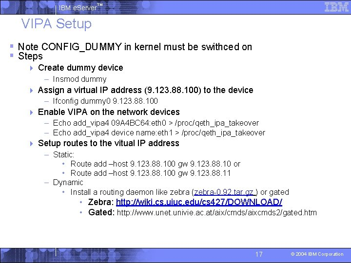 IBM e. Server™ VIPA Setup § Note CONFIG_DUMMY in kernel must be swithced on