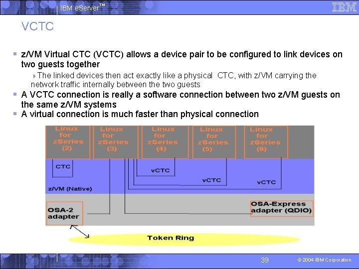 IBM e. Server™ VCTC § z/VM Virtual CTC (VCTC) allows a device pair to