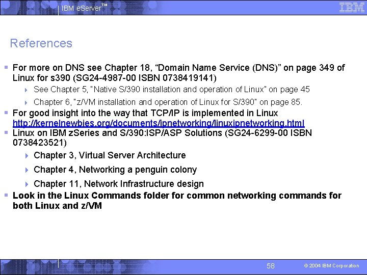 """IBM e. Server™ References § For more on DNS see Chapter 18, """"Domain Name"""