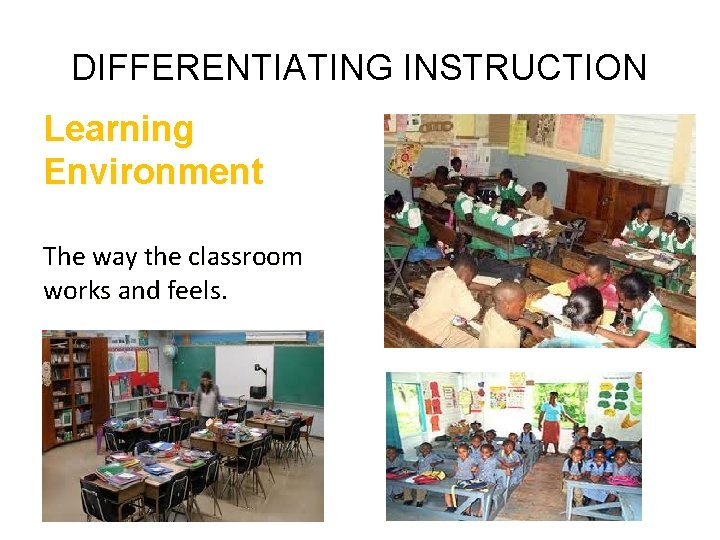 DIFFERENTIATING INSTRUCTION Learning Environment The way the classroom works and feels.