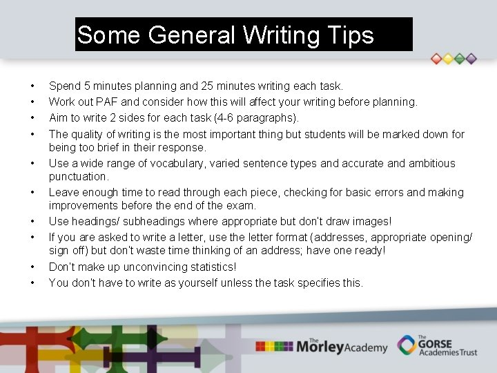 Some General Writing Tips • • • Spend 5 minutes planning and 25 minutes