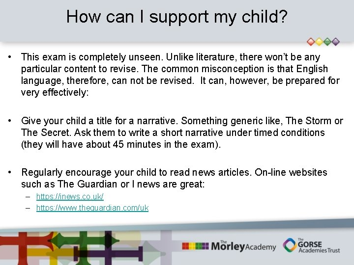 How can I support my child? • This exam is completely unseen. Unlike literature,