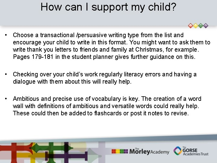 How can I support my child? • Choose a transactional /persuasive writing type from