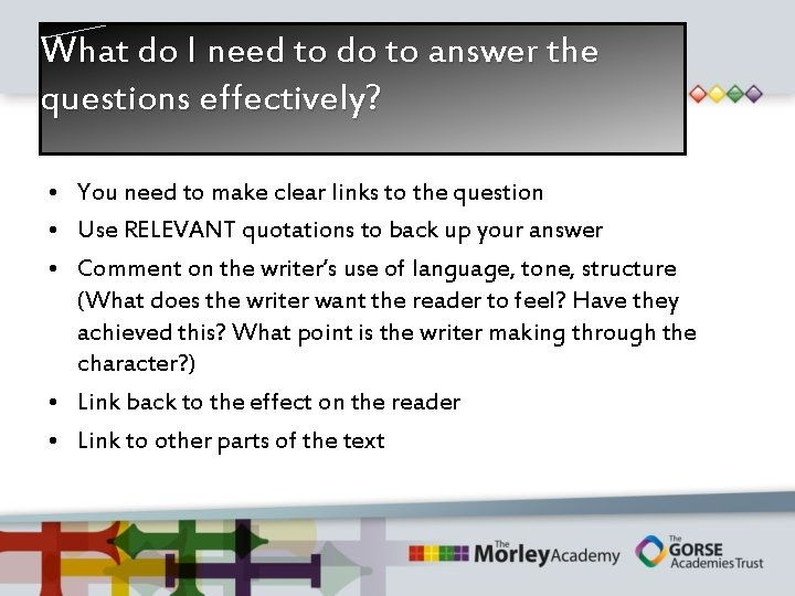 What do I need to do to answer the questions effectively? • You need