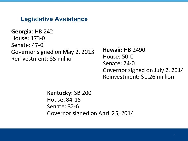 Legislative Assistance Georgia: HB 242 House: 173 -0 Senate: 47 -0 Governor signed on