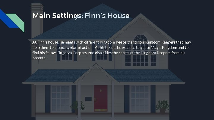 Main Settings: Finn's House At Finn's house, he meets with different Kingdom Keepers and