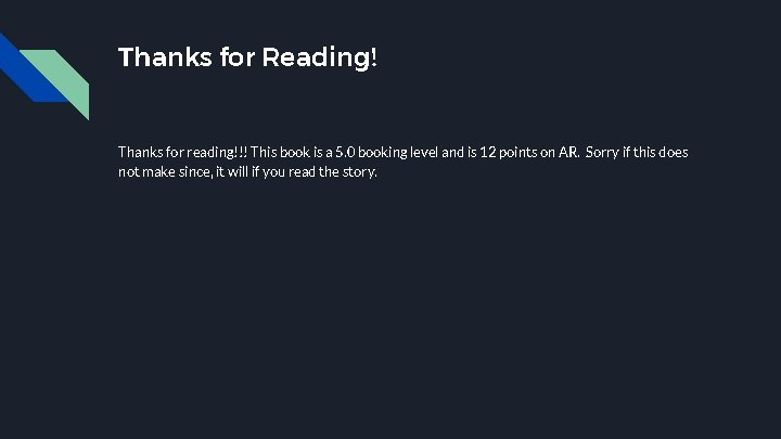 Thanks for Reading! Thanks for reading!!! This book is a 5. 0 booking level
