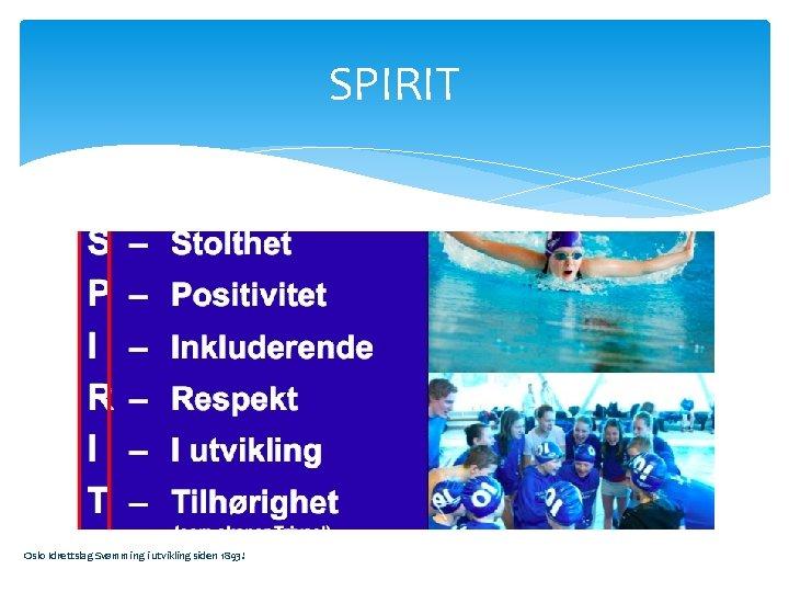 SPIRIT Oslo Idrettslag Svømming i utvikling siden 1893!