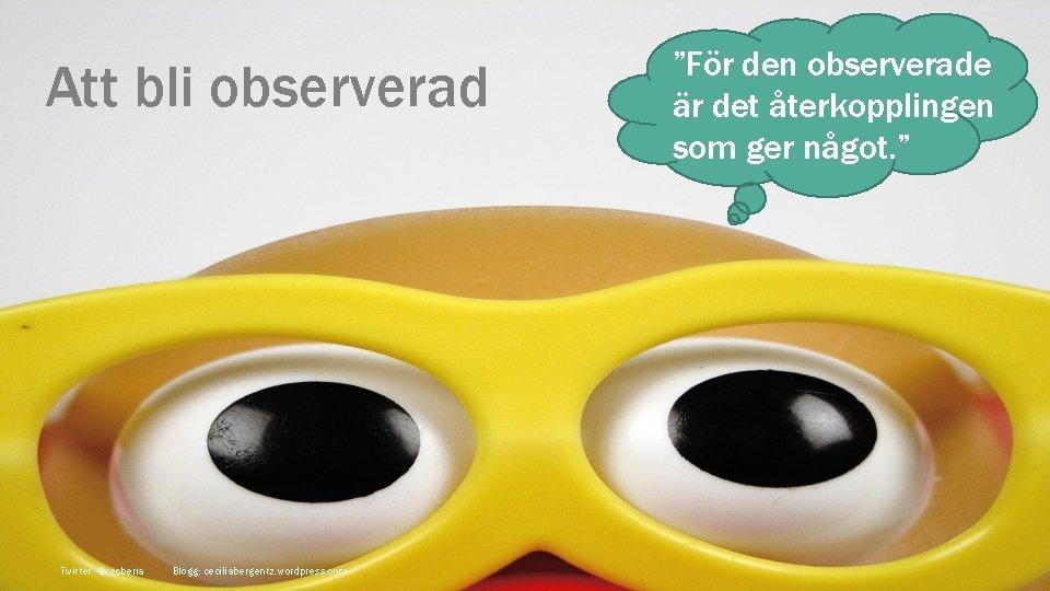 """Att bli observerad Twitter: @cecberia Blogg: ceciliabergentz. wordpress. com """"För den observerade är det"""