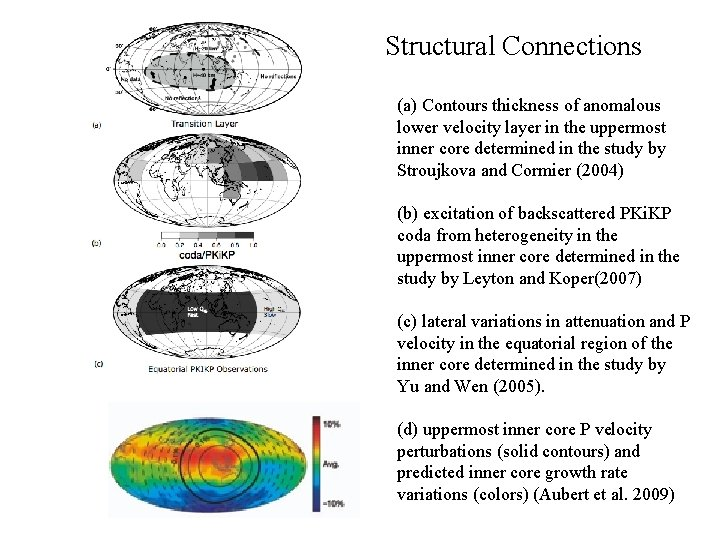 Structural Connections (a) Contours thickness of anomalous lower velocity layer in the uppermost inner