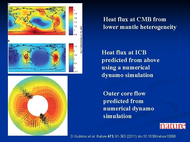 Heat flux at CMB from lower mantle heterogeneity Heat flux at ICB predicted from