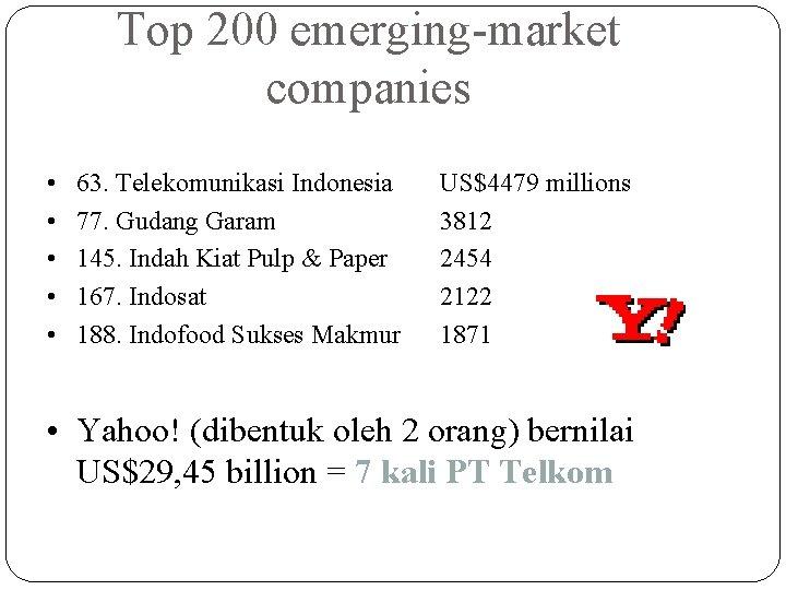 Top 200 emerging-market companies • • • 63. Telekomunikasi Indonesia 77. Gudang Garam 145.