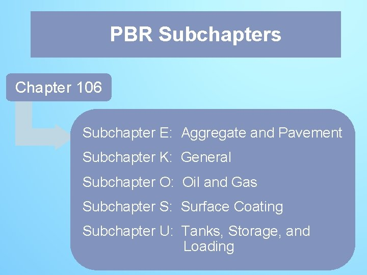 PBR PBRSubchapters Chapter 106 Subchapter E: Aggregate and Pavement Subchapter K: General Subchapter O: