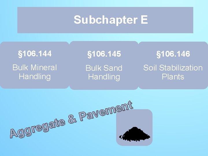 Subchapter E E § 106. 144 § 106. 145 § 106. 146 Bulk Mineral