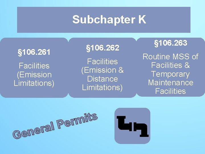 Subchapter K K § 106. 261 Facilities (Emission Limitations) § 106. 262 Facilities (Emission