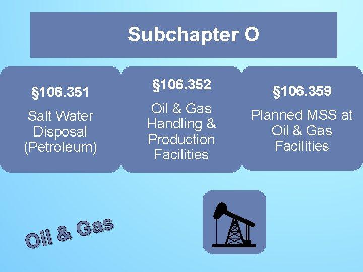 Subchapter O O § 106. 351 Salt Water Disposal (Petroleum) s a G Oil