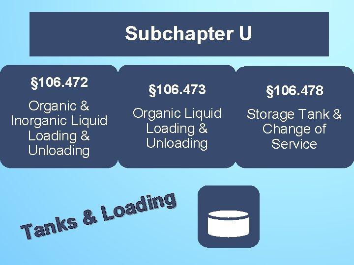 Subchapter U U § 106. 472 Organic & Inorganic Liquid Loading & Unloading §