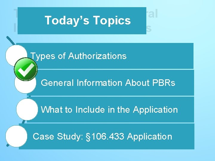 Today's Topics – General Today's Topics Information About PBRs Types of Authorizations General Information