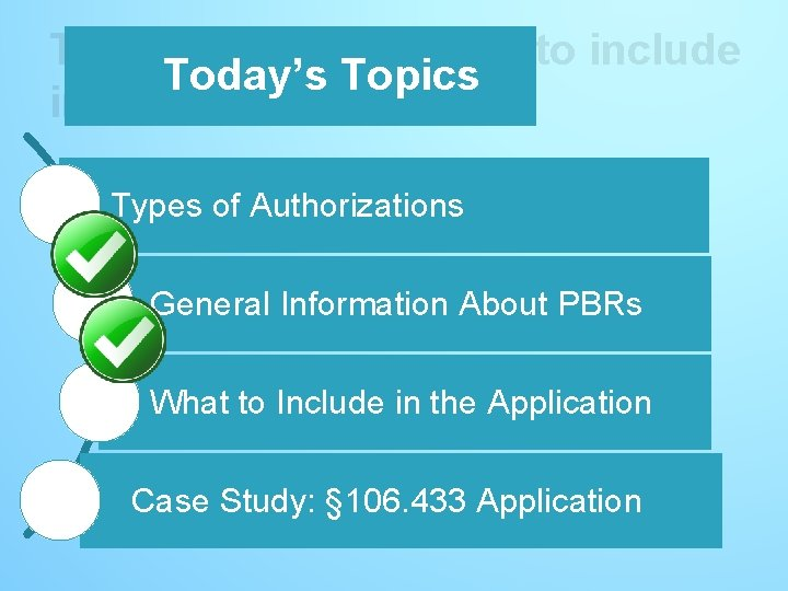 Today's Topics – What to include Today's Topics in the application Types of Authorizations