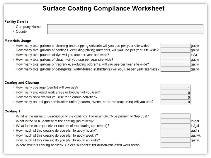 Surface Coating Compliance Worksheet Blank Surface Coating Compliance Worksheet