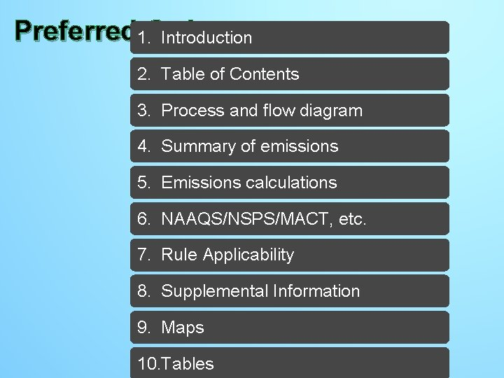 Preferred 1. Order Introduction Preferred Order - completed 2. Table of Contents 3. Process