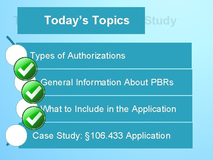 Today's Topics – Case Study Today's Topics Types of Authorizations General Information About PBRs